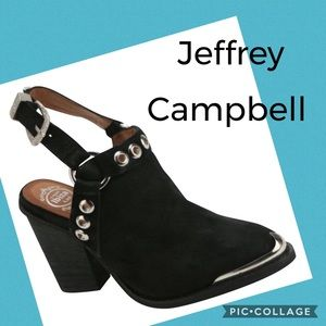 Jeffrey Campbell Colby Black Suede Clogs Size 7.5